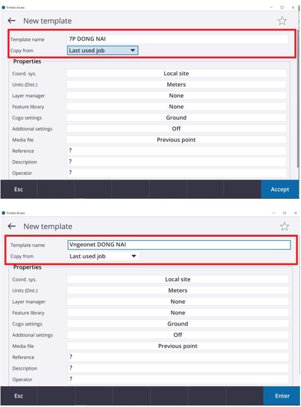 Hướng dẫn tạo thông số Job mặc định trên Phần mềm Trimble Access