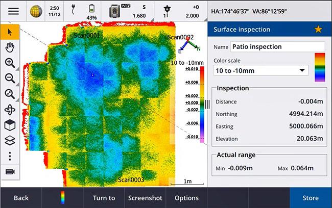 Kết quả kiểm tra bề mặt được hiển thị ngay trên phần mềm hiện trường Trimble Access