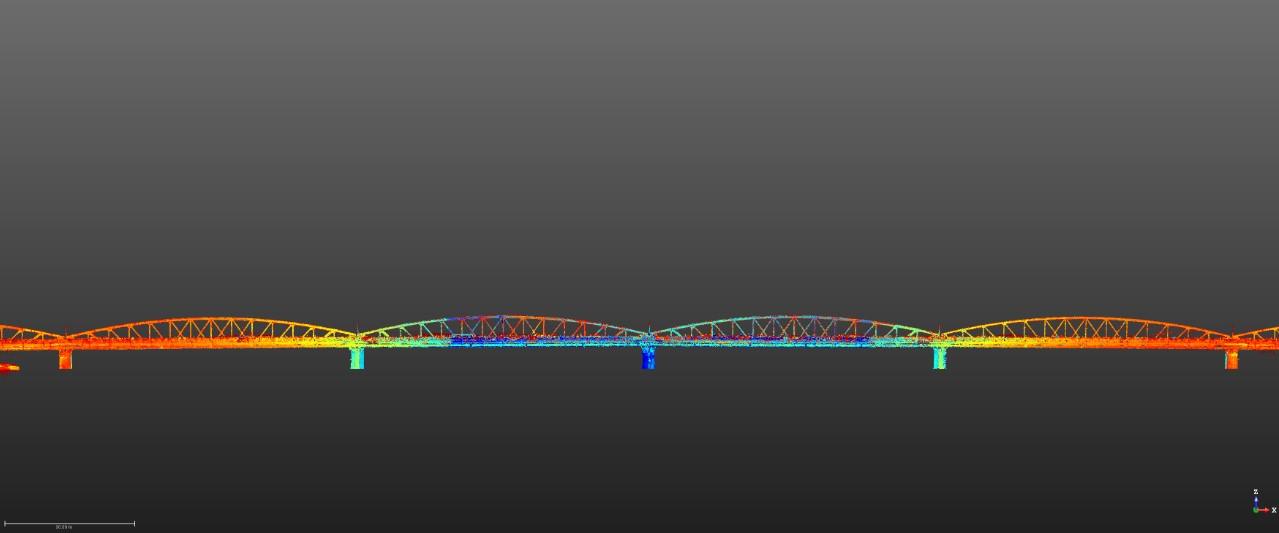 Hình ảnh dữ liệu Point Cloud từ việc quét laser 3D cầu Trường Tiền, Huế