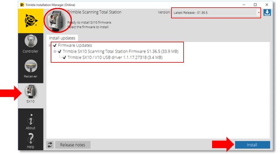 Cài đặt cập nhật Firmware cho Trimble SX12 & SX10 trên phần mềm Trimble Installation Manager